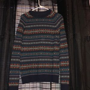 Wool Blend Patterned Crewneck Sweater